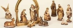 11-Piece Inspirational Brown and Gold Christmas Nativity Figure Set