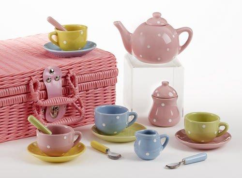 """Delton Products 4.25"""" Porcelain 17 Piece Tea Set And Basket, Polka Dot Design"""