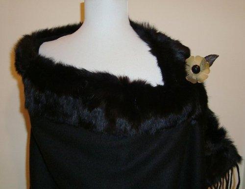 Jet Black Baby Alpaca Cashmere Blend Shawl With Black Real Fox Fur (S-5)