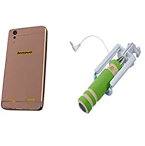 Novo Style Back Cover Case with Bumper Frame Case for Lenovo A6000 Rose Gold + Wired Selfie Stick No Battery Charging Premium Sturdy Design Best Pocket SizedSelfie Stick