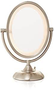 jerdon hl955n 8 inch oval halo lighted vanity mirror with 5x magnification nickel. Black Bedroom Furniture Sets. Home Design Ideas