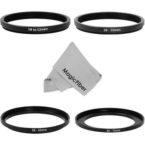 Goja Adapter Ring Set For 58Mm Dslr Cameras - Includes: 2 Step-Up Rings (58Mm Lens To 62, 72Mm Accessory) + 2 Step-Down Rings (58Mm Lens To 52, 55Mm Accessory) + Premium Magicfiber Microfiber Lens Cleaning Cloth