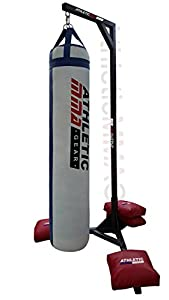 Muay Thai Heavy Bag Stand 370 LB Capacity. Heavy Duty Punching Bag Stand Comes with 4 Sand Bags