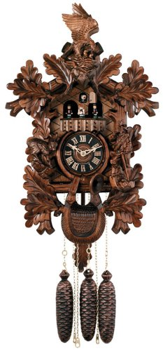 River City Clocks MD859-23 Eight Day Musical Cuckoo Clock with Dancers, Hand-Carved Eagle, Hunter, And Ram, 23-Inch Tall