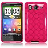 HTC Inspire 4G/ Desire HD TPU Rubber Skin/ Protector - Hot Pink Circle
