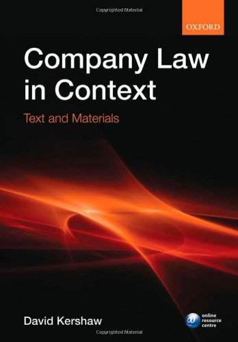 Company law in context: Text and materials