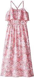 kc parker Big Girls' Floral Print Flounce Maxi Dress