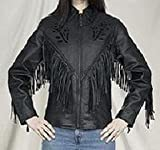 Womens Rose Inlay Leather Motorcycle Jacket with Fringes, Jackets available in all sizes by NYC Leather Factory Outlet