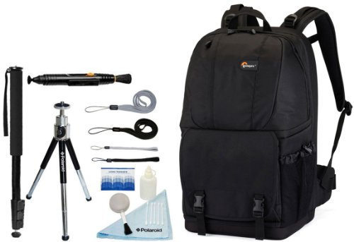 LOWEPRO Fastpack 250 Camera/NoteBook Backpack + Accessory Kit for Canon EOS Rebel T3/T3i/T2i/T1i/EOS 1D MARK III/1D MARK IV/1DS MARK II/5D/7D/20D/30D/40D/50D/60D/XS/Xsi/Xti SLR Cameras-Black