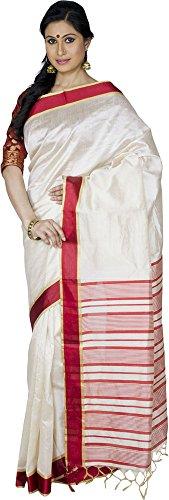 KAAJAL SAREES Women's Banarasi Silk Saree (Cream)