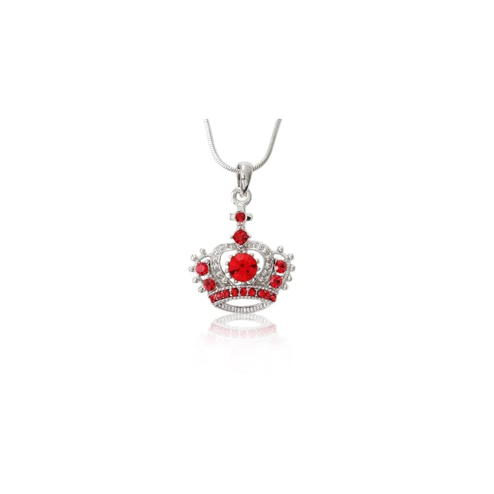 Red & Clear Crystal Crown Charm Pendant Necklace