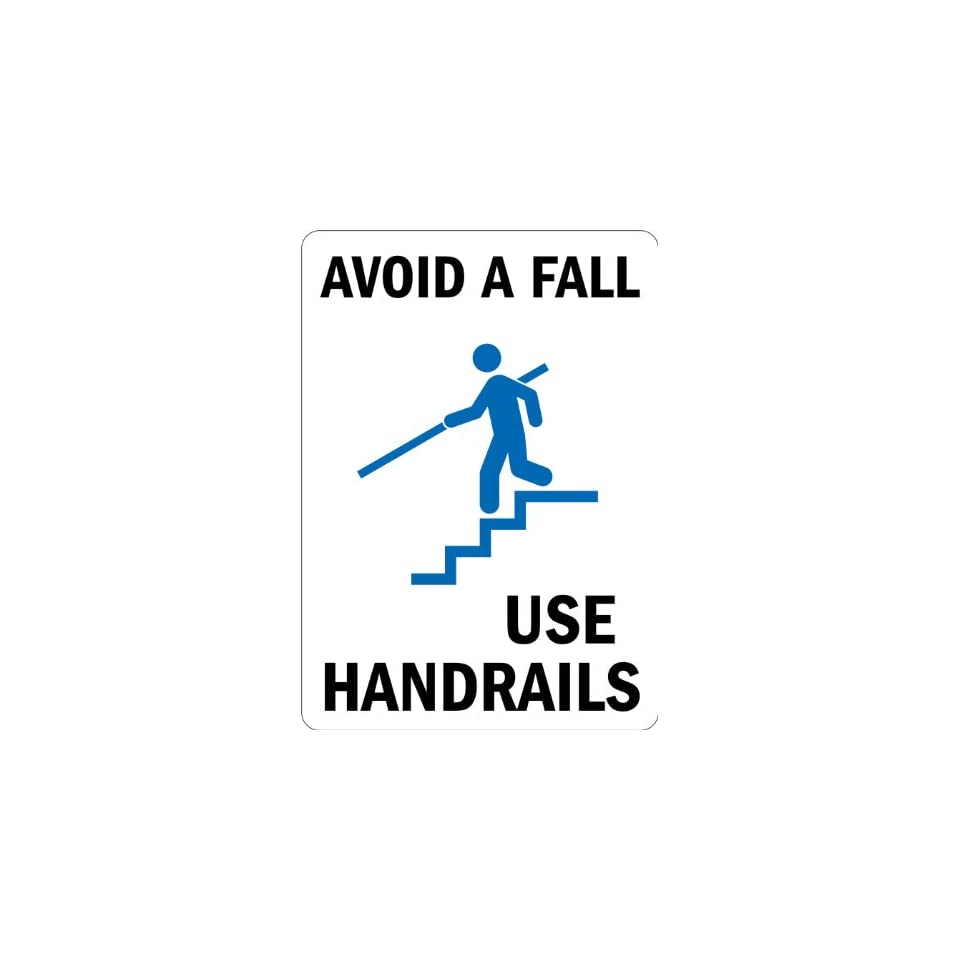 SmartSign Adhesive Vinyl Label, Legend Avoid a Fall, Use Handrails with Graphic, 5 high x 3.5 wide, Black/Blue on White