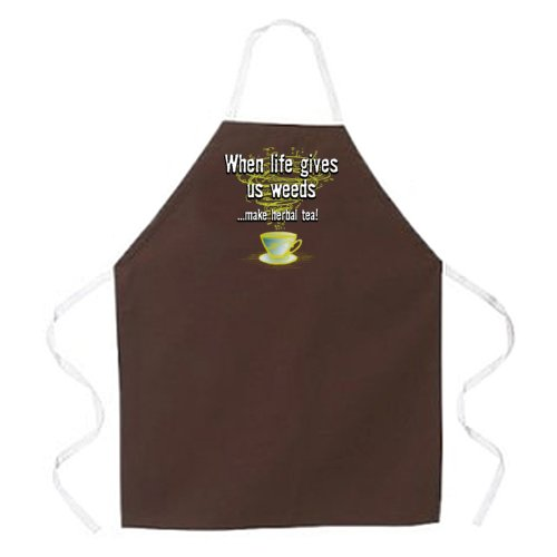 Attitude Apron Herbal Tea Apron, Brown, One Size Fits Most