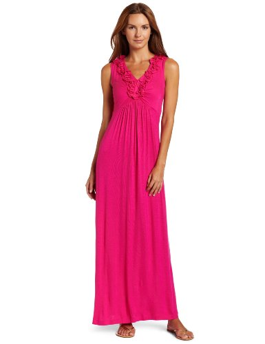 Tiana B Women's Ruffle Front Maxi Dress, Fuschia, Large