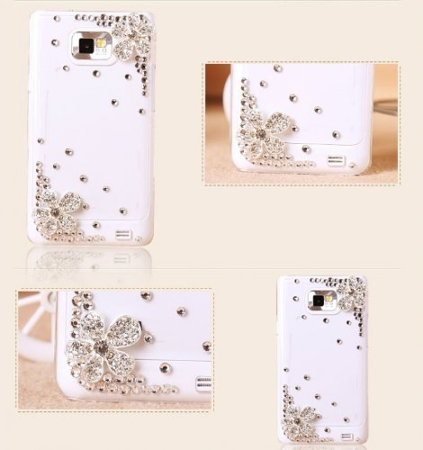 Coco Hand-made Hard Crystal Bling Case Skin Cover Flower for Samsung Galaxy s2 i9100 ONLY- White Case