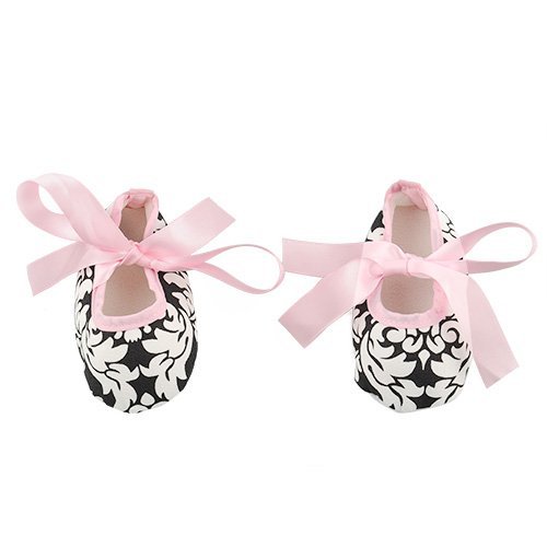 Lovely Soft Baby Toddler Girls Dot Zebra Stripe Damask Print Silk Ribbon Shoes (6-12 Month, Light Pink Damask)