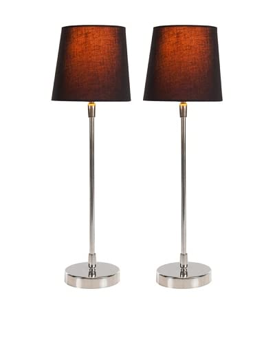 Filament Set of 2 Slim Round Table Lamps with Contrast Shade, Black/Orange