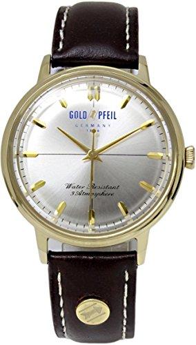 [ゴールドファイル]GOLD PFEIL 腕時計 革ベルト アナログ メンズ G21010GS ゴールド ブラウン [並行輸入品]
