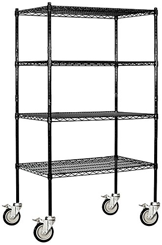Salsbury Industries Mobile Wire Shelving Unit, 36-Inch Wide by 69-Inch High by 18-Inch Deep, Black