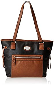 Franco Sarto Dallas Quilted Travel Tote,Black/Whisky,One Size
