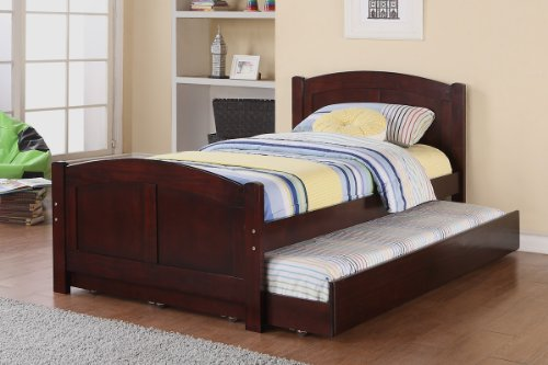 Twin Bed with Trundle in Cherry Wood by Poundex (Wood Trundle Bed compare prices)