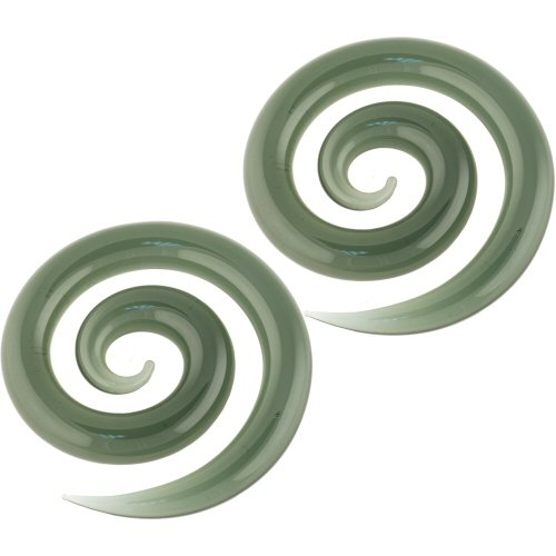 Pair of Glass Super Spirals: 0g Smoke