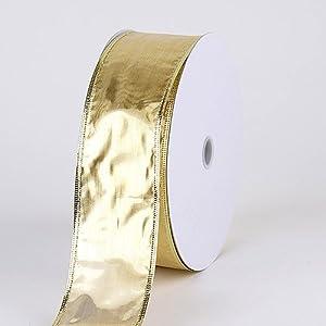 Christmas Ribbon 2-1/2 Inch x 50 Yards, Metallic Gold