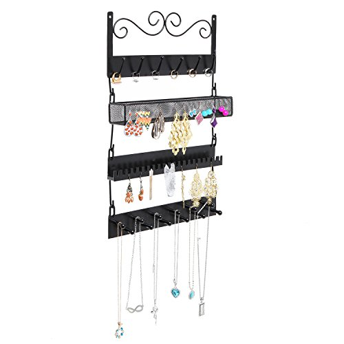 Wall Mounted Black Metal 18 Hook Hanging Jewelry, Earrings, Rings, Necklaces, Bracelets Organizer Rack (Modular Wall Storage Organizer compare prices)