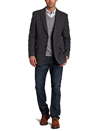 Tommy Hilfiger Men's Trim Fit Plaid Sport Coat,  Gray, 36 Short