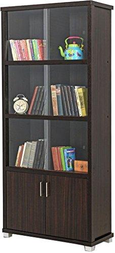 Royal Oak Bookshelf with Sliding Doors (Dark Brown)