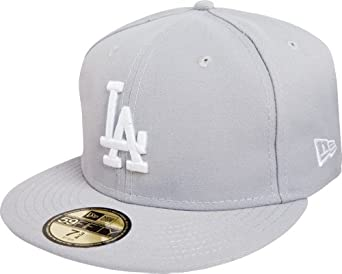 MLB Los Angeles Dodgers Basic 59Fifty Fitted Cap, Gray, 6.875