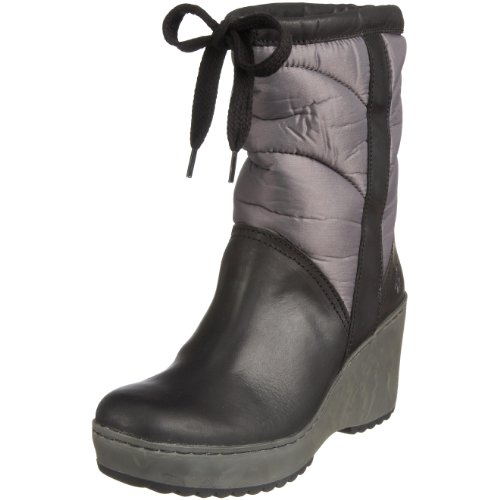 Fly London Women's Milly Wedge Boot Leather Black/Grey P141687000 7 UK