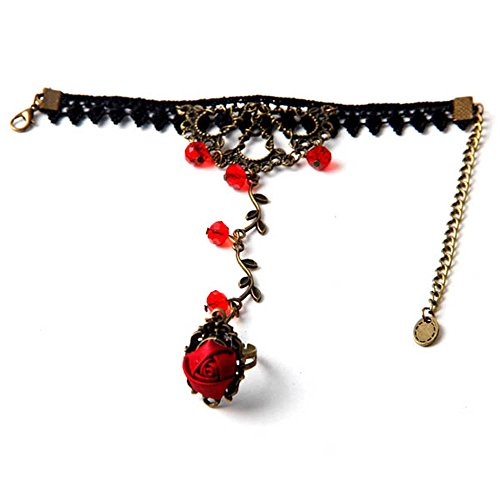 Fashion Black Lace Metal Chain Bangle Red Crystal Beads Flower Bracelet Ring
