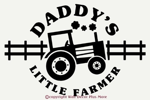 Wall Décor Plus More WDPM1432 Daddy's Little Farmer Quote with Tractor Decal Wall Vinyl Sticker, 23 W  x  15 H, Black