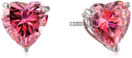 10k White Gold Heart Pink Swarovski Zirconia Stud Earrings