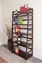Hot Sale Simpli Home AXSS008KD Acadian Collection Ladder Shelf Bookcase, Rich Tobacco Brown, 1-Pack