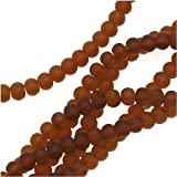 Cultured Sea Glass Round Rondelle Spacer Beads 6x5mm - Brown (8 Inch Strand)