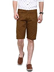 Showoff Men's Khaki Slim Fit Solid Casual Chino Shorts
