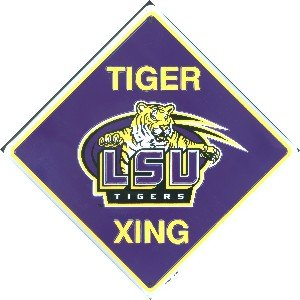 LSU Tigers Crossing Sign Metal Embossed 12 x 12 at Amazon.com