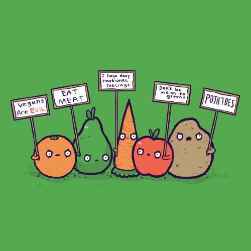 """""""Protesting Vegans"""" Funny Vegetables W/ Protest Signs Against Vegans - Vinyl Sticker front-756925"""