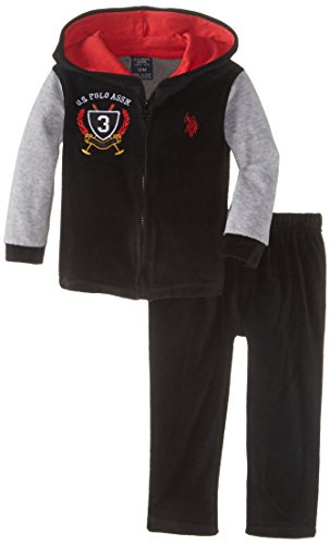 U.S. Polo Assn. Baby-Boys Infant Velour Hooded Jacket And Pant Set, Black, 18 Months