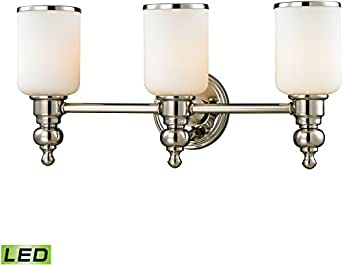 Blown Glass Vanity Light : ELK 11572/3-LED, Bristol Blown Glass Wall Vanity Lighting, 3 Light LED, Polished Nickel ...