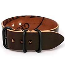 DaLuca Shell Cordovan 1 Piece NATO Watch Strap - Color 8 (PVD Buckle) : 24mm