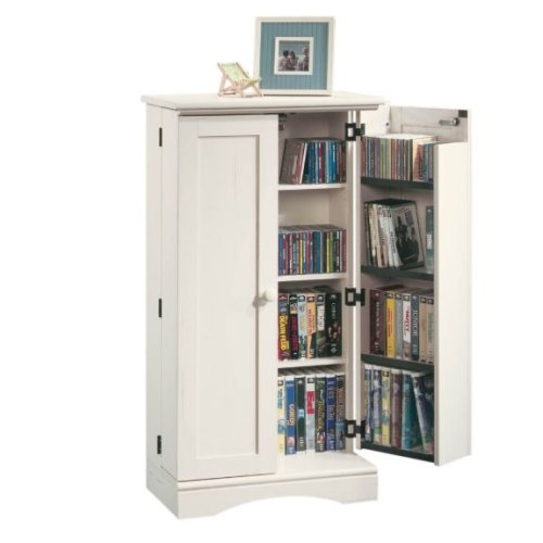 Gentil Cheap CD DVD Blu Ray Movie Wall Storage Cabinet Tower Rack W/Adjustable  Shelves And Key Locking   Antique White