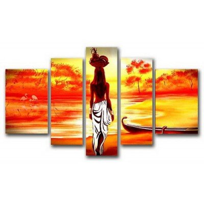 Sangu 100% Hand Painted 5-Piece Africa Maiden Landscape Oil Paintings Canvas Wall Art For Home Decoration