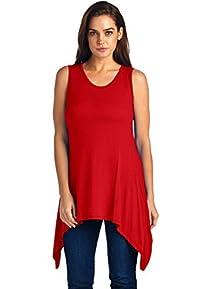 LeggingsQueen Women's Sleeveless Rayon Spandex Asymmetrical Top