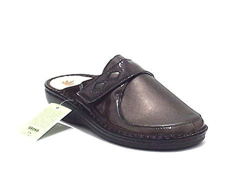 Susimoda scarpa donna, 6344, pantofola predisposta Susimoda in vernice ed ecopelle, colore beige grigio