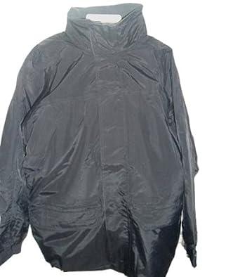 Men's Black Fleece Lined Waterproof Hooded Jacket Size S,