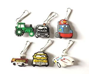 6 pcs Pixar Cars # 2 Zipper Pull / Zip pull Charms for Jacket Backpack Bag Pendant