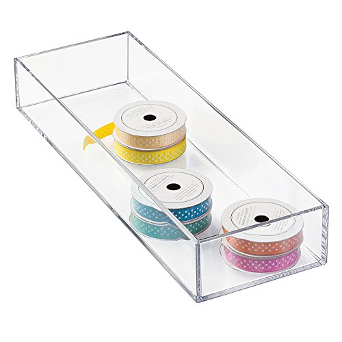 "mDesign Art Supplies, Crafts, Crayons and Sewing Drawer Organizer - 4"" x 12"" x 2"", Clear"